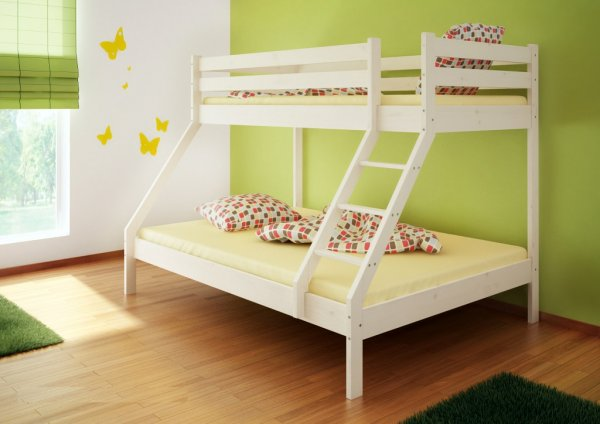 Patrová postel Denis bílá + rošty + matrace
