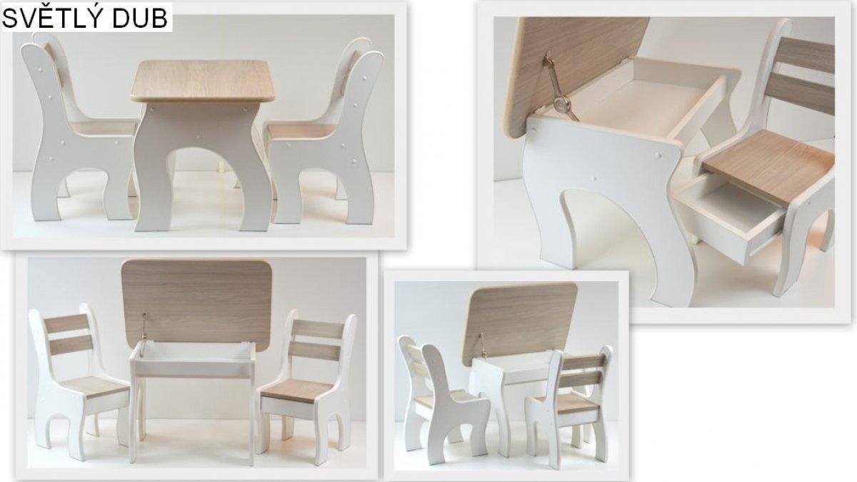 Stůl +židličky se šuplíky K3 světlý dub