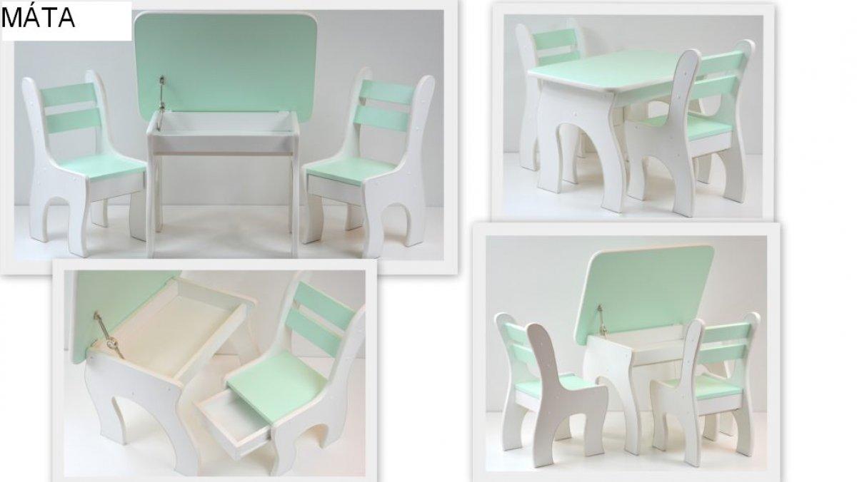 Stůl +židličky se šuplíky - K3 máta