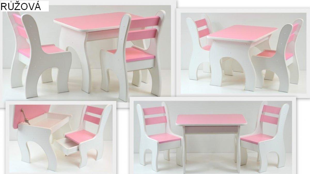 Stůl +židličky se šuplíky K3 růžová