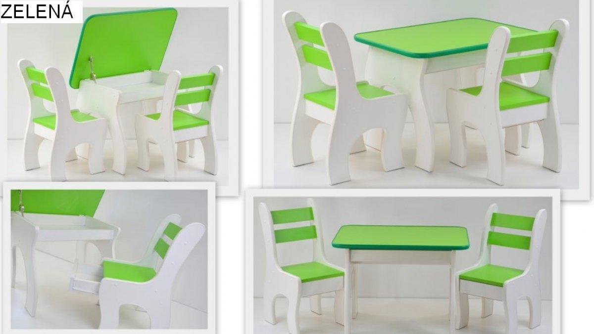 Stůl +židličky se šuplíky - K3 zelená