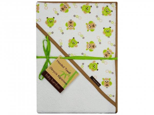 Bambusová osuška s kapucí 100x100 cm sovičky bílá