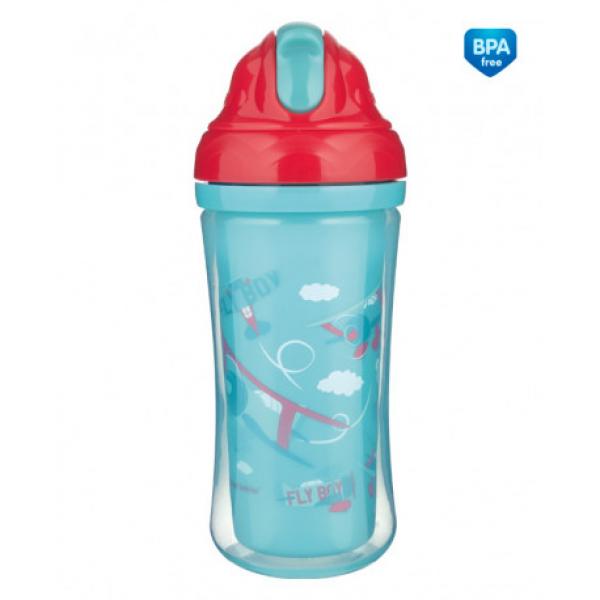 Canpol babies Sportovní láhev se silikonovou slámkou LETADLA 260