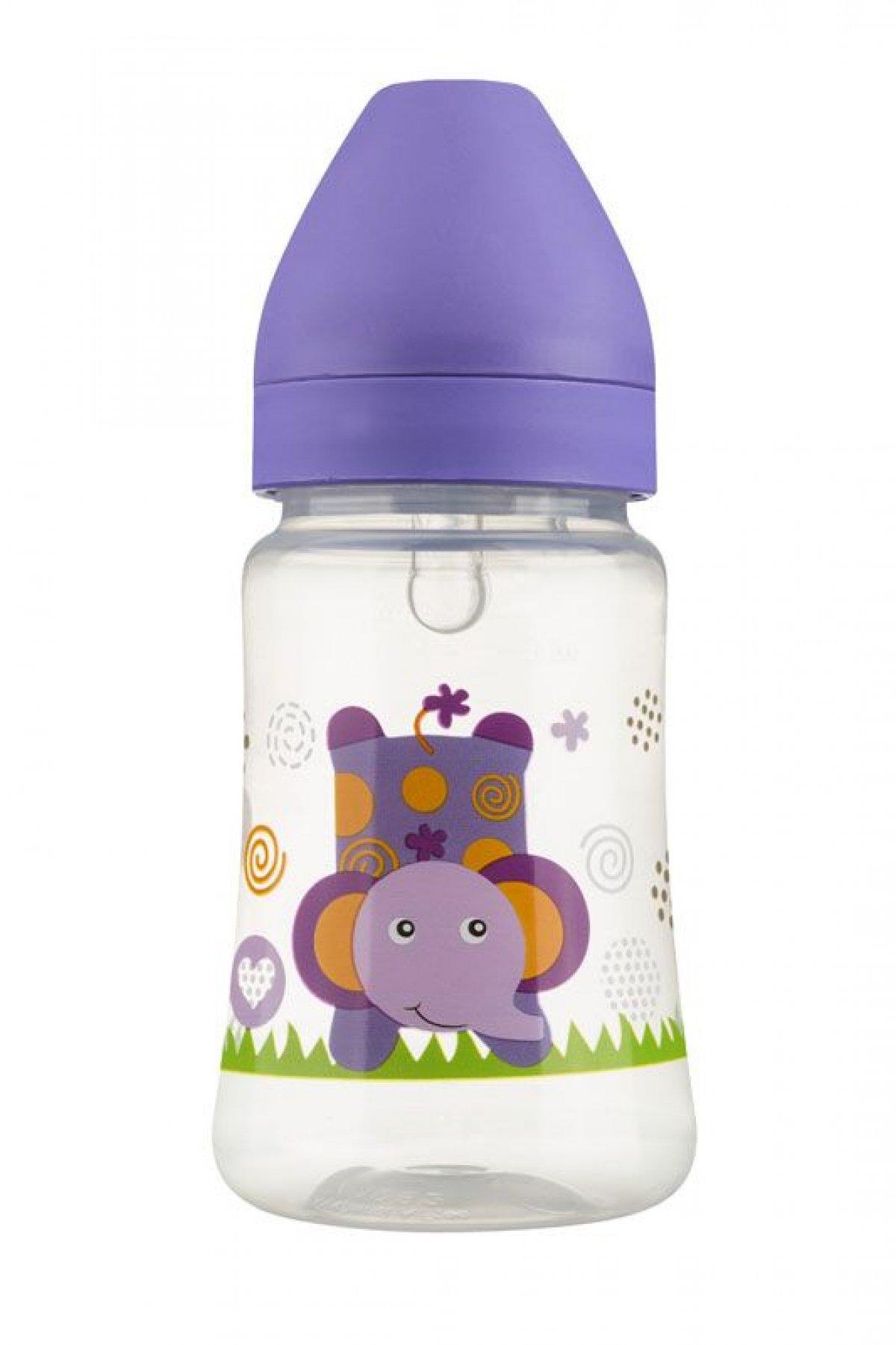 Láhev se širokým hrdlem 250 ml - fialová slon