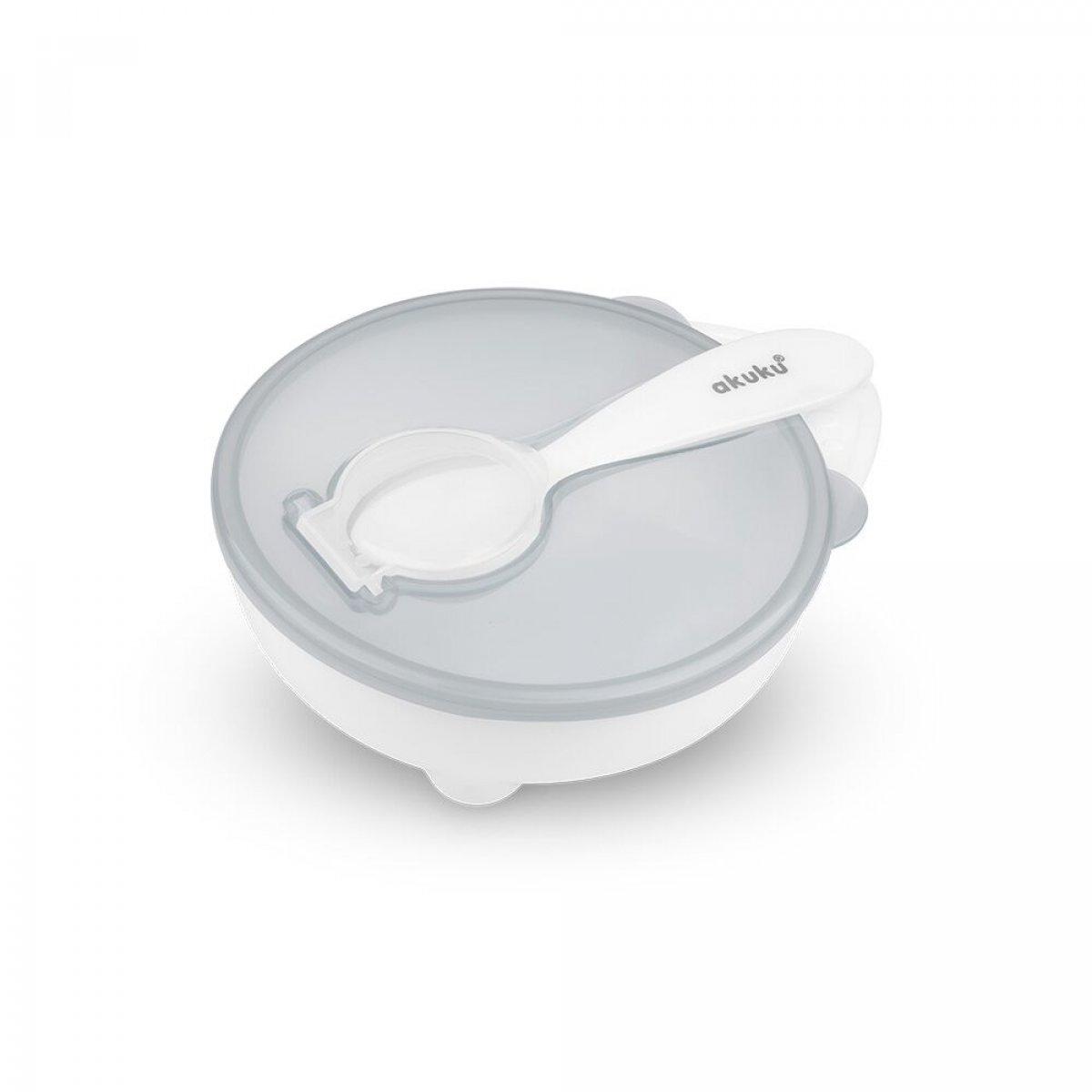 Miska a lžička - bílo/šedá