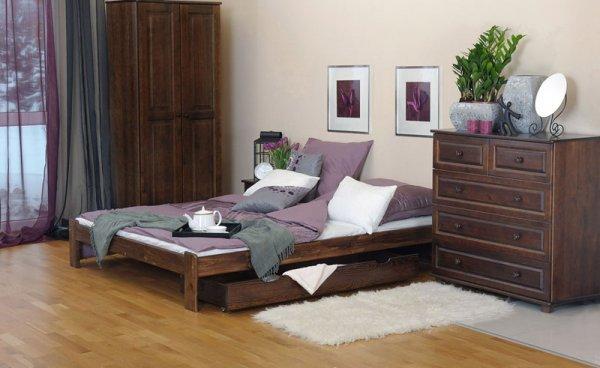 Postel Adam 180 x 200 cm ořech masiv borovice + matrace Relax