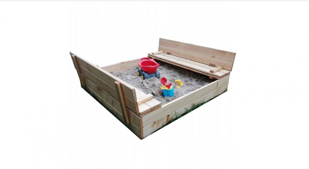 Pískoviště 120/120 cm s lavičkami a plachtou