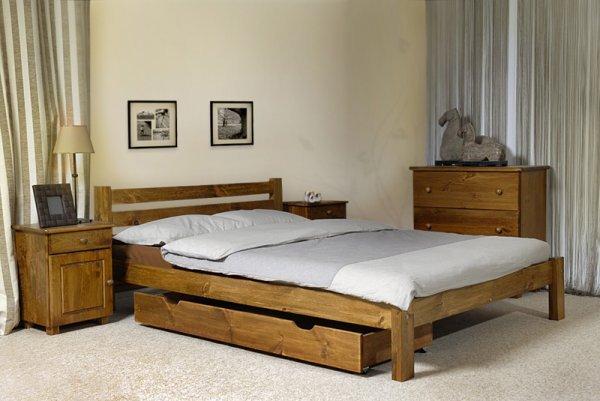 Postel Ajša 160x200 cm dub masiv borovice + matrace Superflex