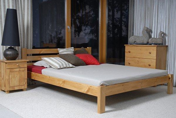 Postel Ajša 160x200 cm olše masiv borovice + matrace Relax