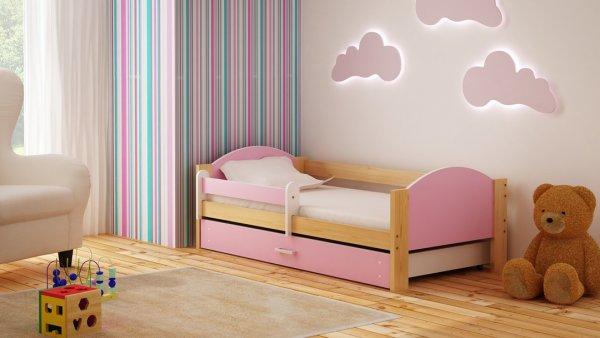 Dětská postel Bořek 160/80 cm se šuplíkem růžový