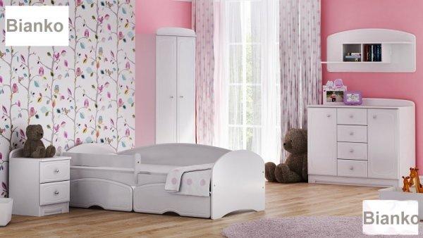 Postel Bianco 200/90 cm bílá + matrace + šuplík
