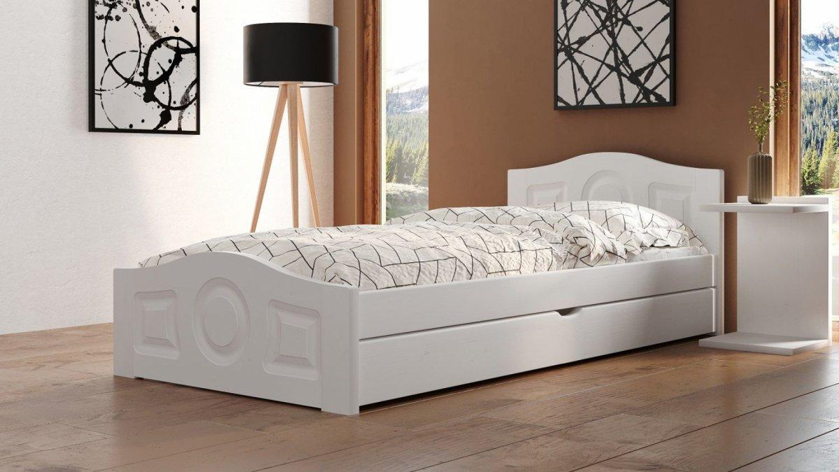 Postel Comfort 120/200 cm - bílá + šuplík - masiv smrk 3,5 cm