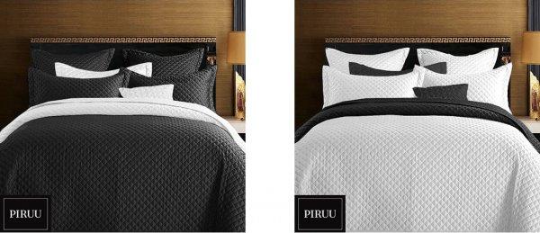 Přehoz na postel 220/200 cm bílo-černý