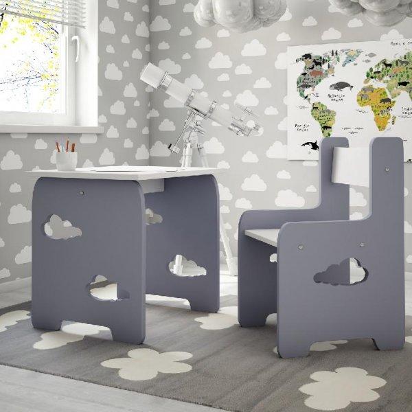 Stůl a židle mráček - šedá