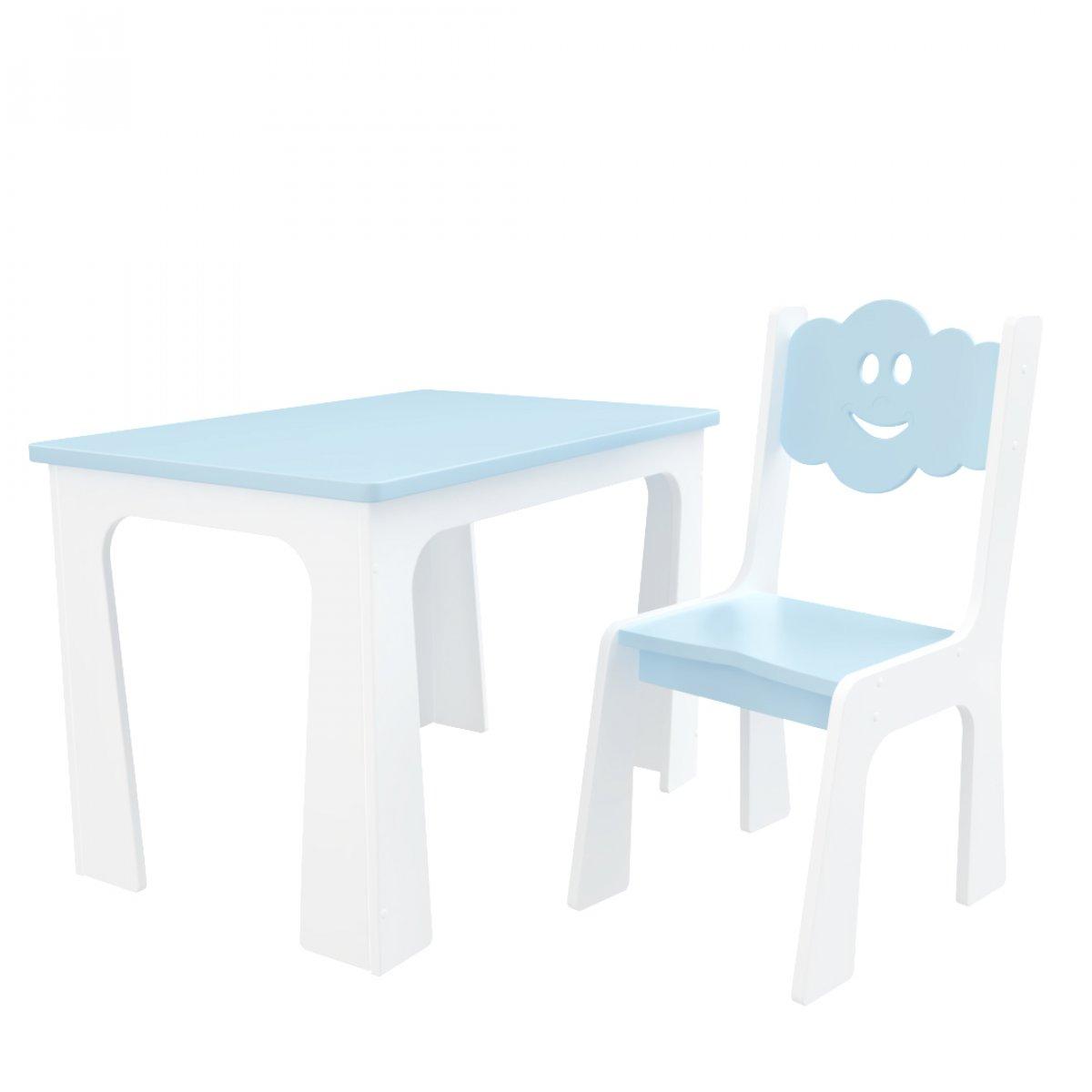 Stůl a židle opěrka - mrak bílo-modrá