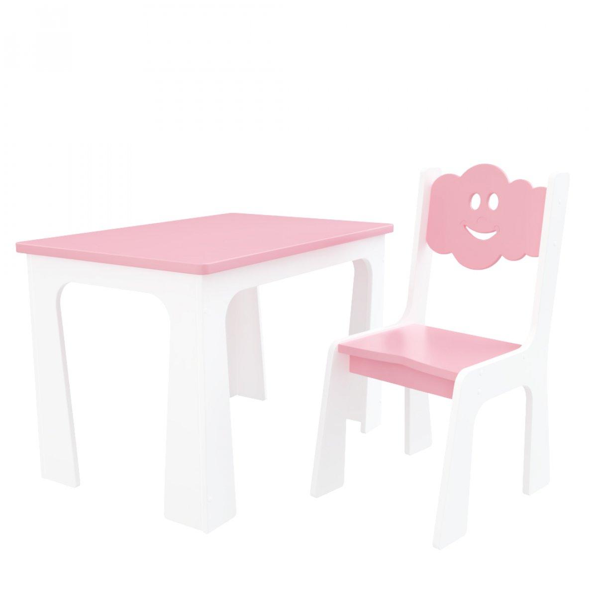 Stůl a židle opěrka - mrak bílo-růžová