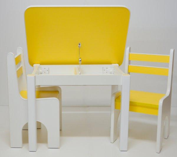 Stůl a dvě židličky K1 - žlutá