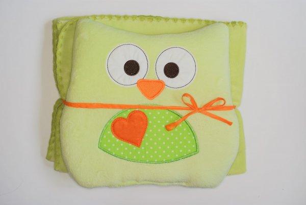 Dětská deka + polštářek Coral sova 80x90 cm zelená