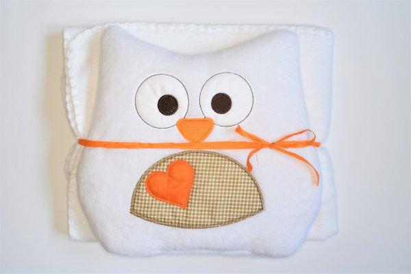 Dětská deka + polštářek Coral sova 80x90 cm - bílá