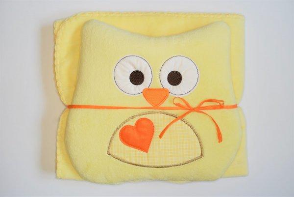 Dětská deka + polštářek Coral sova 80x90 cm - žlutá