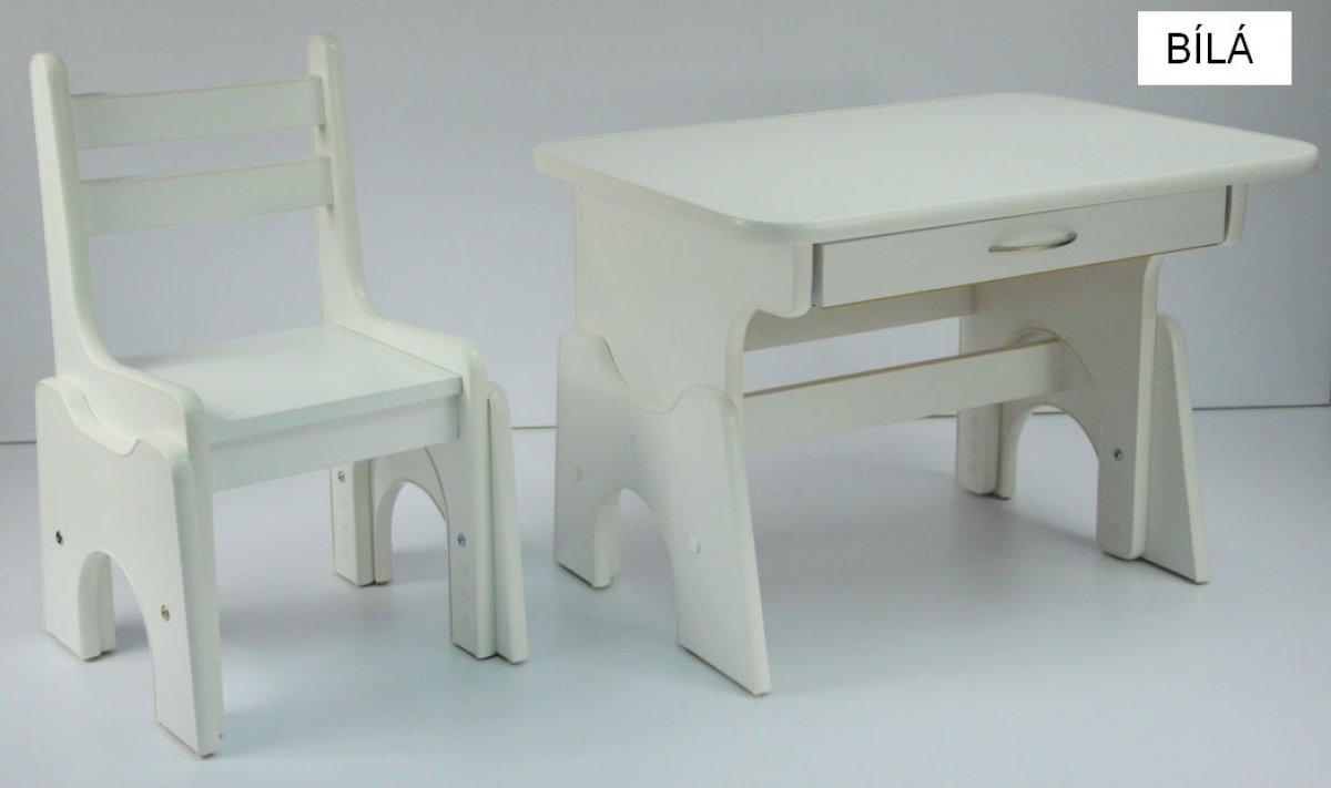 Stůl + židlička B1 - regulace výšky bílá