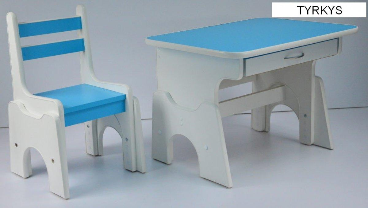 Stůl + židlička B1 - regulace výšky tyrkys