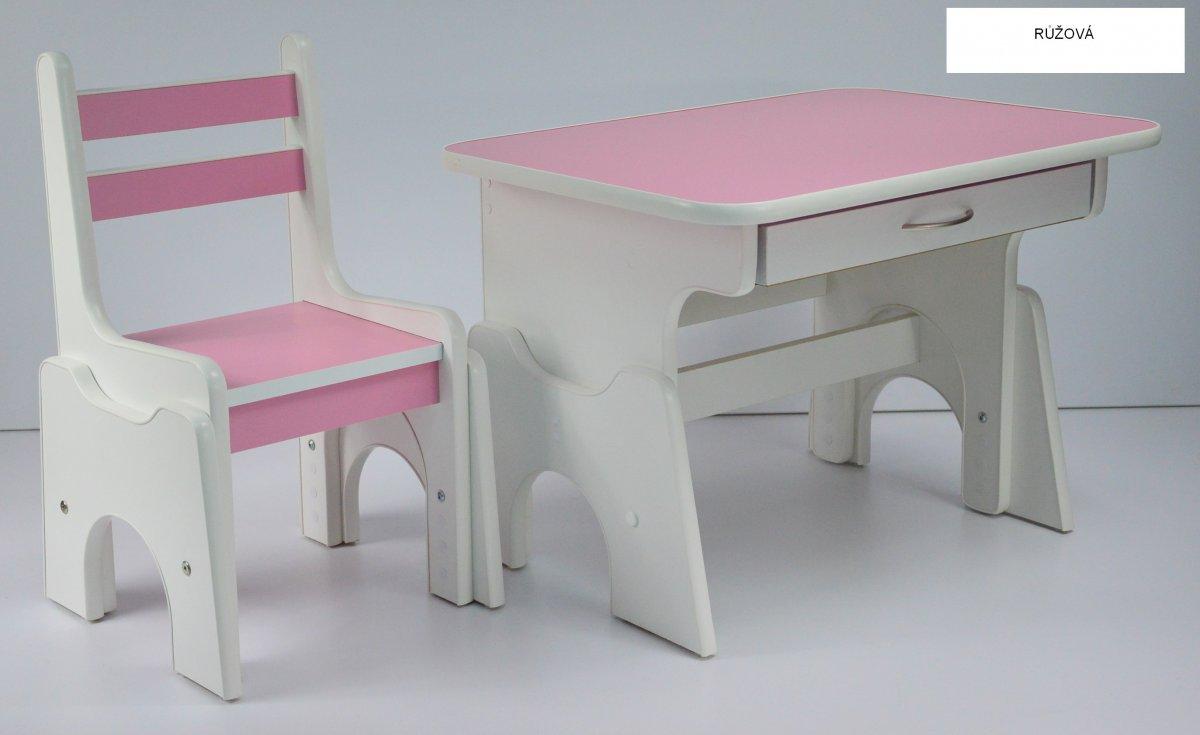 Stůl + židlička B1 - regulace výšky růžová