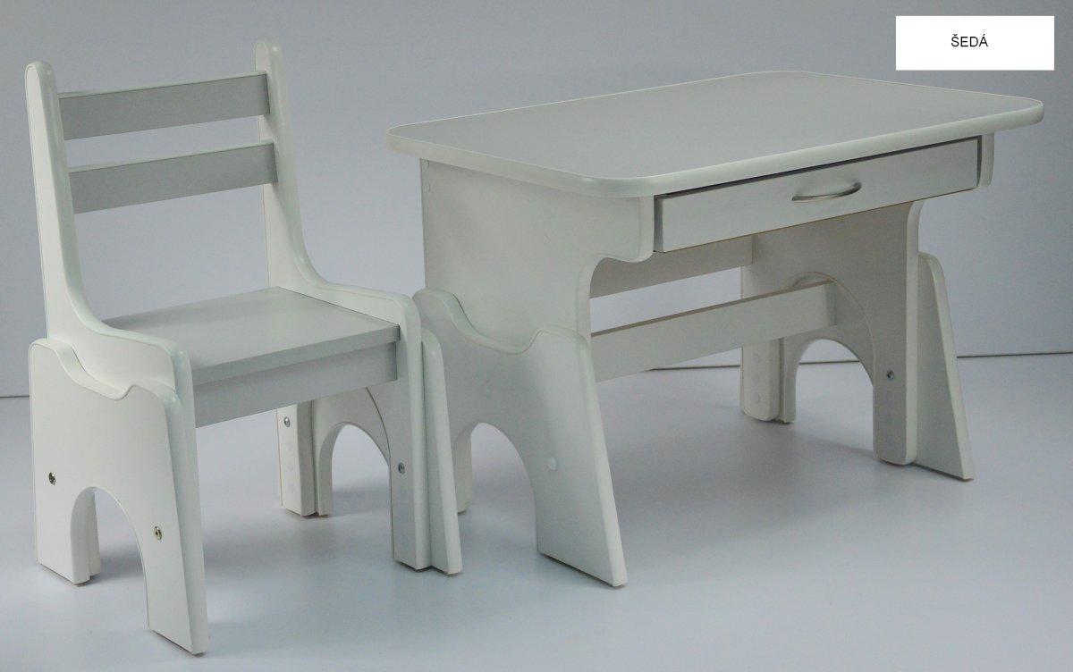 Stůl + židlička B1 - regulace výšky šedo-bílá