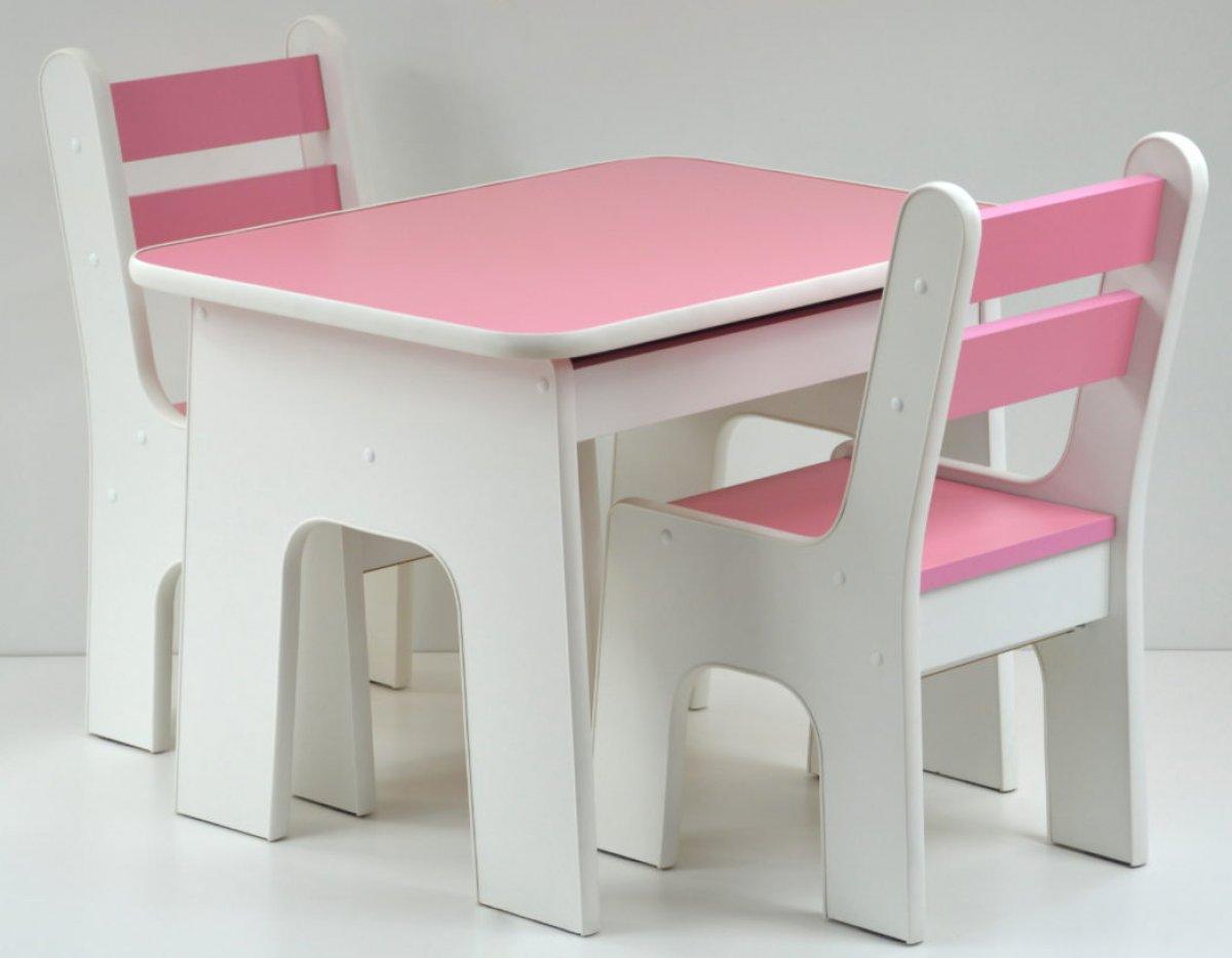 Stůl +židličky se šuplíky - K2 růžová