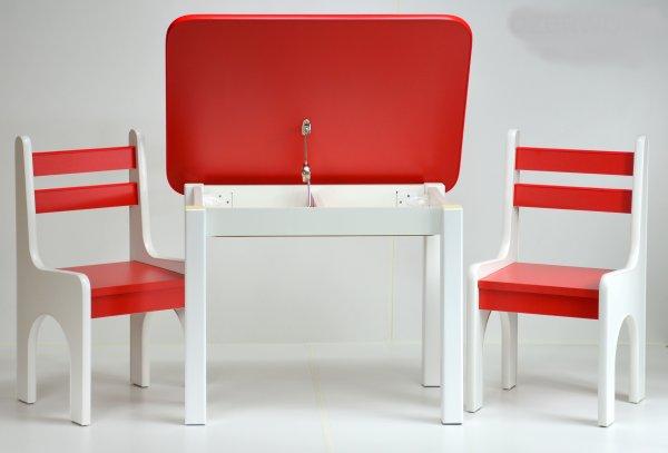 Stůl a dvě židličky K1 červená