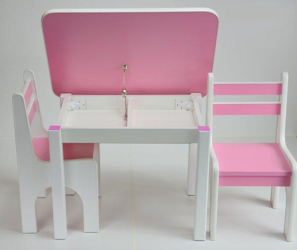 Stůl a dvě židličky K1 růžová
