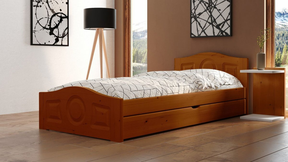 Postel Comfort 90/200 cm - dub + šuplík - masiv smrk 3,5 cm