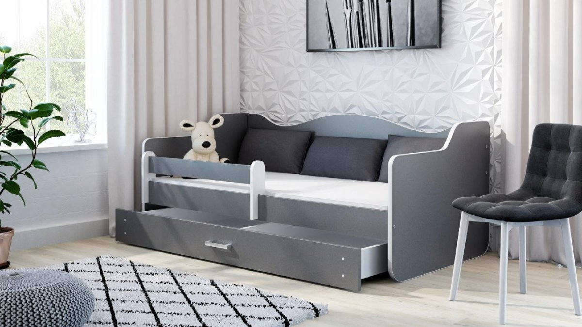 Postel Filip 160x80 cm + šuplík + matrace šedý