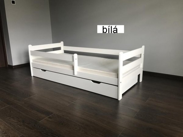Dětská postel Jirka 160x80 cm + šuplík + matrace - bílá