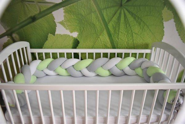 Mantinel pletený cop bílo-šedý-zelený