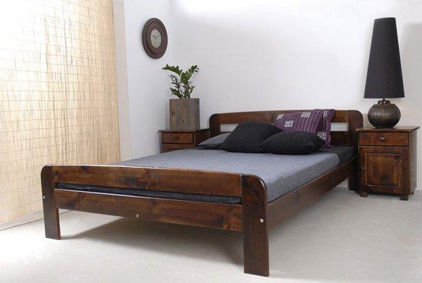 Postel Bohdana 120 x 200 cm ořech masiv borovice