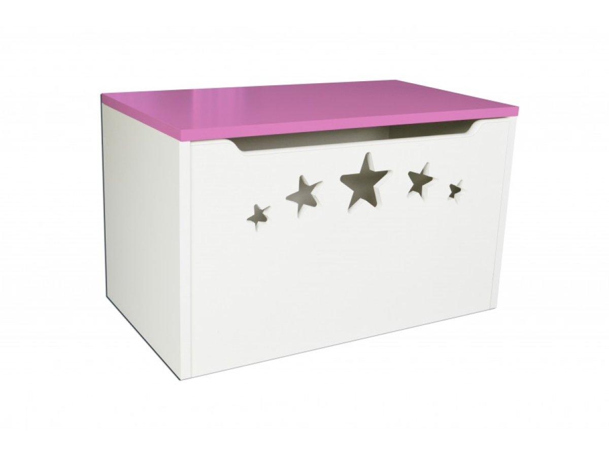 Box na hračky hvězdy růžové
