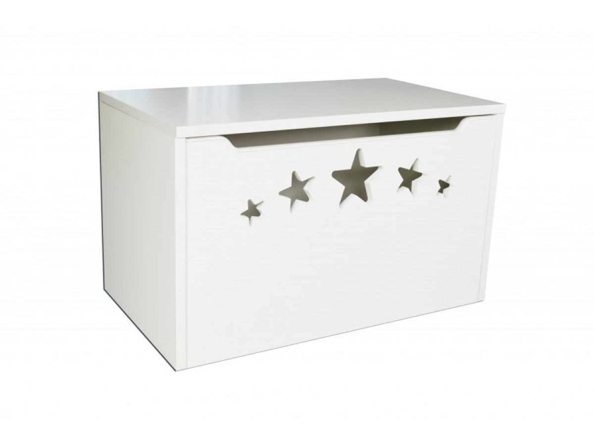 Box na hračky hvězdy bílé