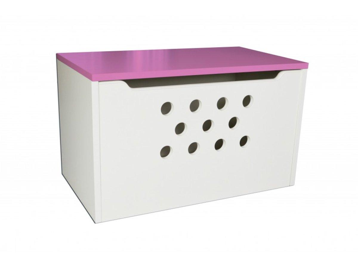 Box na hračky kolečka růžová
