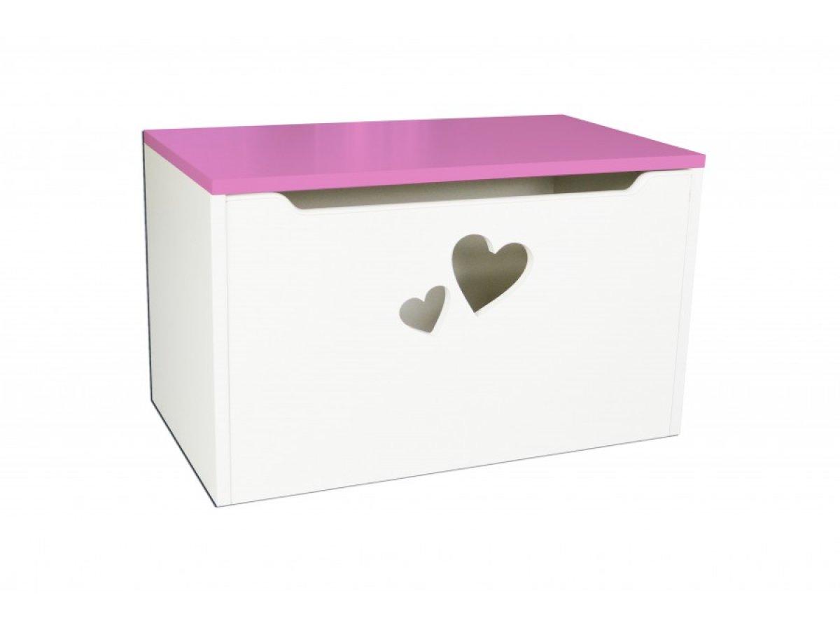 Box na hračky - srdce růžová