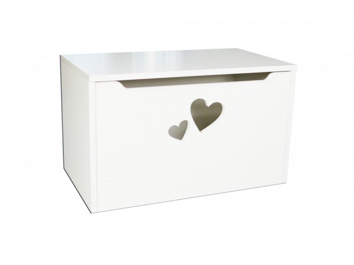 Box na hračky - srdce bílá