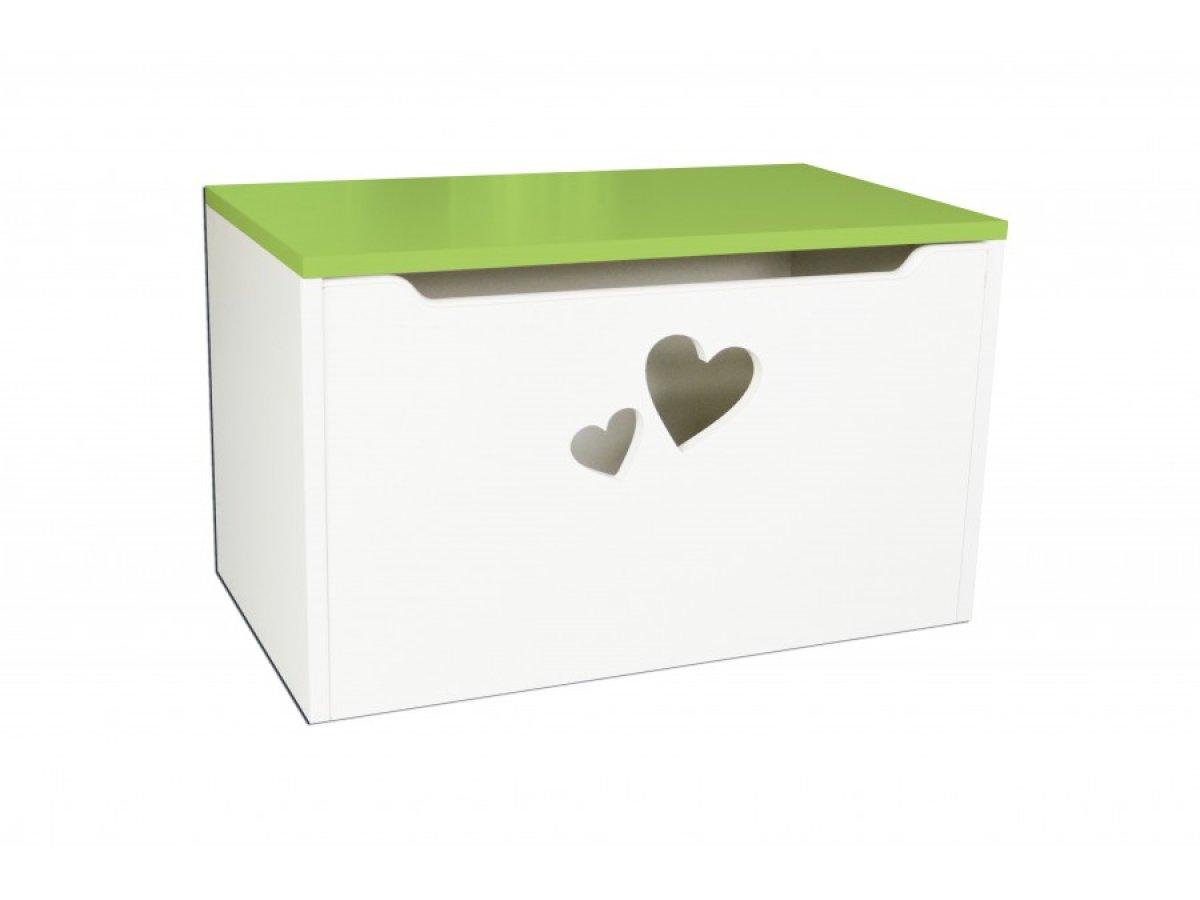 Box na hračky - srdce zelená