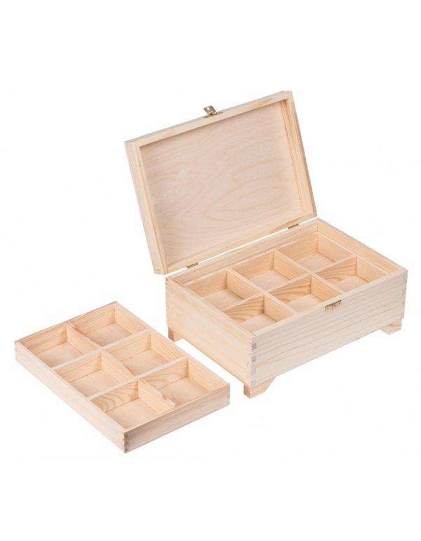 Kufřík sosna - 20x29x13 cm + 2 přihrádky