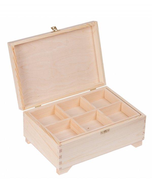 Kufřík sosna - 20x29x13 cm - s přihrádkami + zapínání