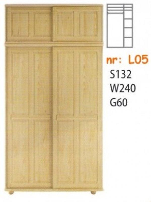 Skříň masiv borovice L05 posuvné dveře