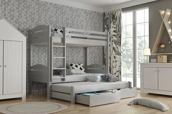 ef73180f0df4 Patrová postel Lukášek 3-lůžko + matrace + šuplíky - masiv smrk - šedá