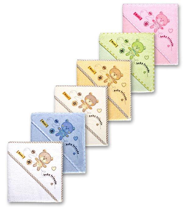 Dětská osuška froté s kapucí méďa - 6 barev