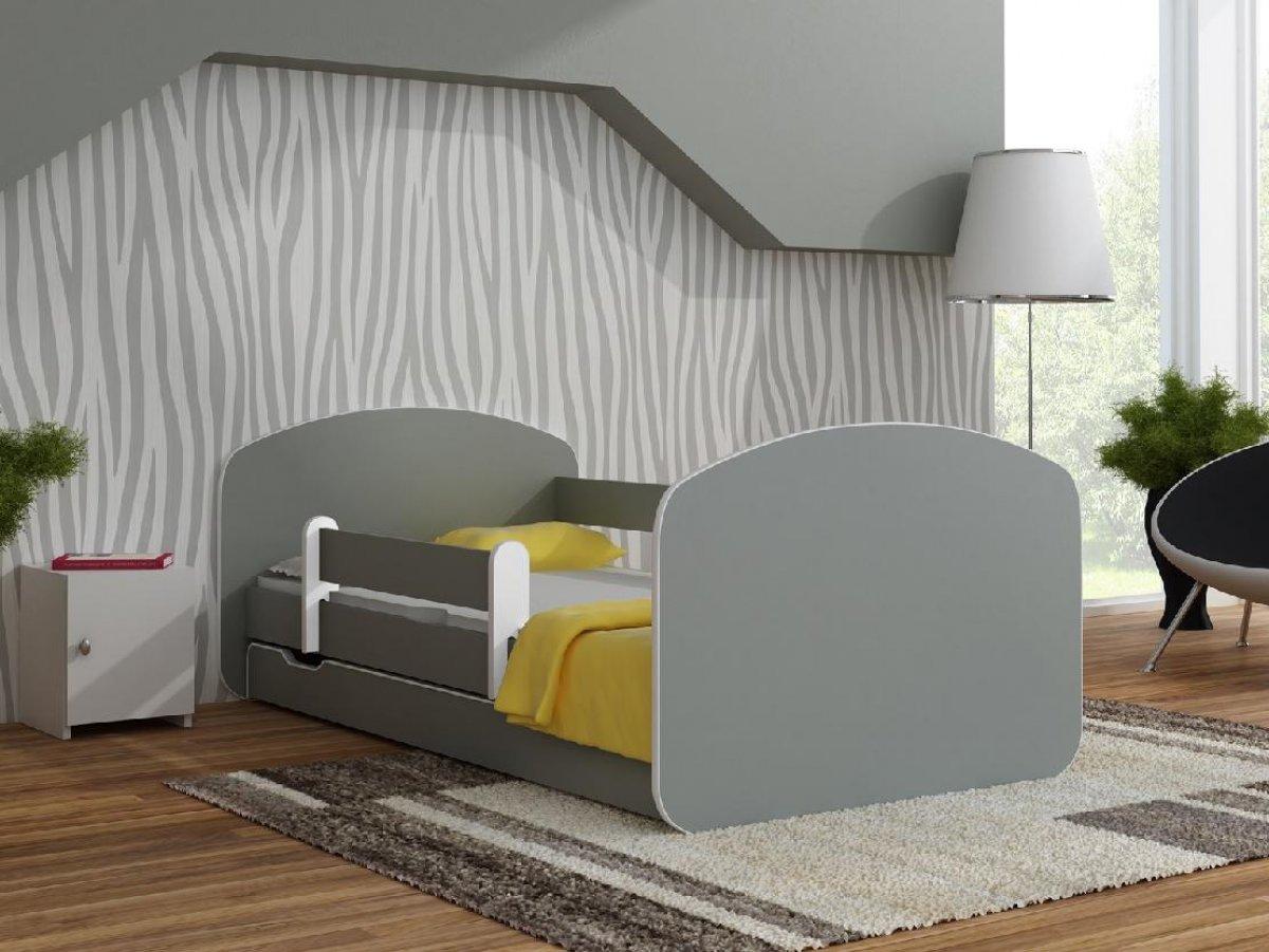 Postel Milano 160x80 cm + šuplík + matrace šedá