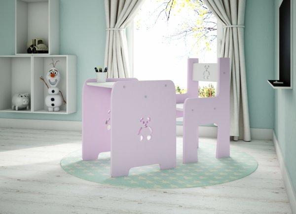 Stůl a židle méďa - růžová