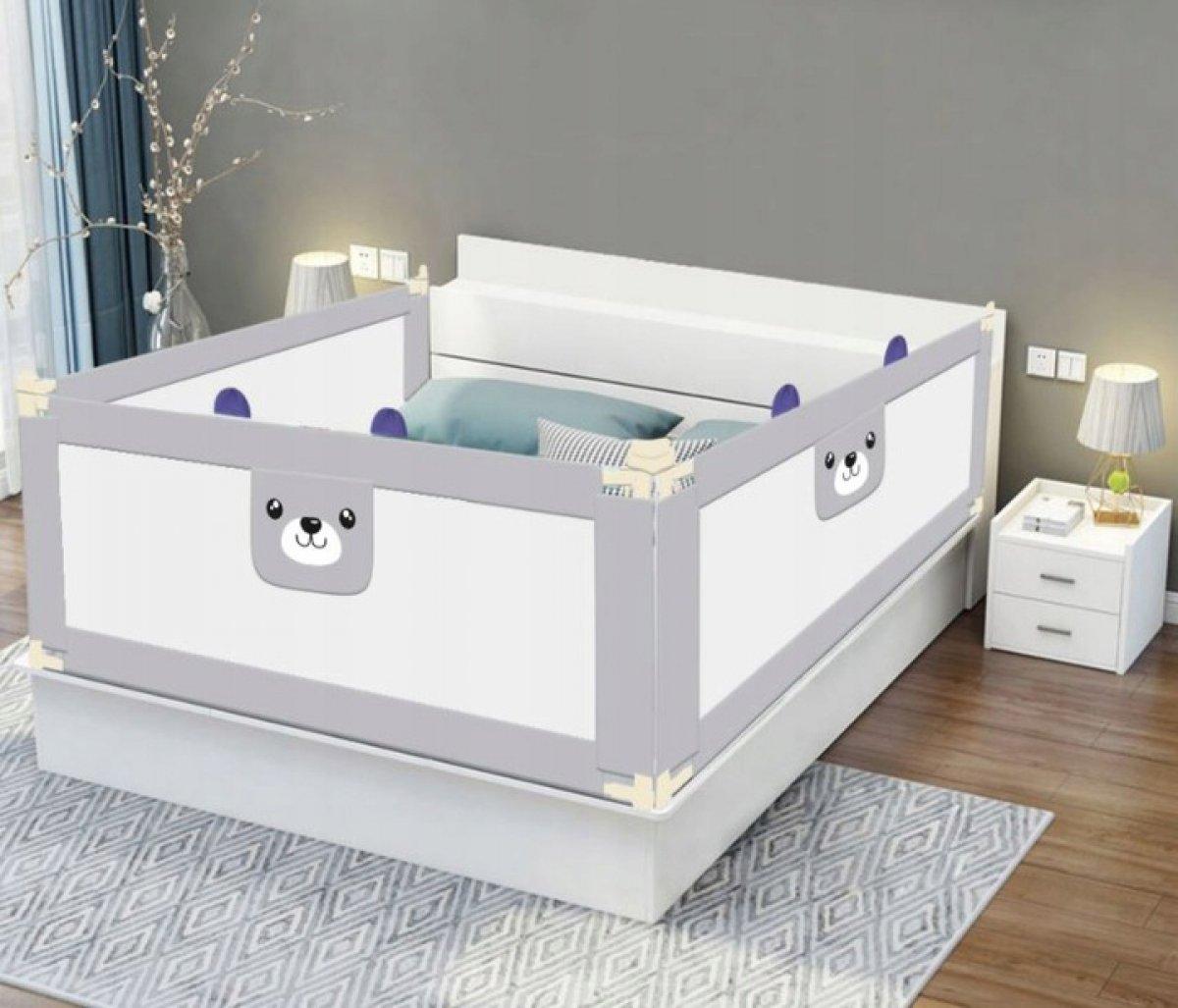 Zábrana na postel Méďa - 180 cm šedá